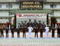 Pangdam XII/Tpr Serta Forkopimda Ikuti Upacara HUT ke-76 TNI Secara Virtual